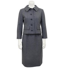 1950s Grey Christian Dior New York Skirt Suit