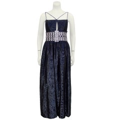 1970's Maggy Reeves Midnight Blue Gown with Silver Cage Belt