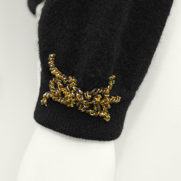 1950s Black Hong Kong Beaded Sweater For Sale 1