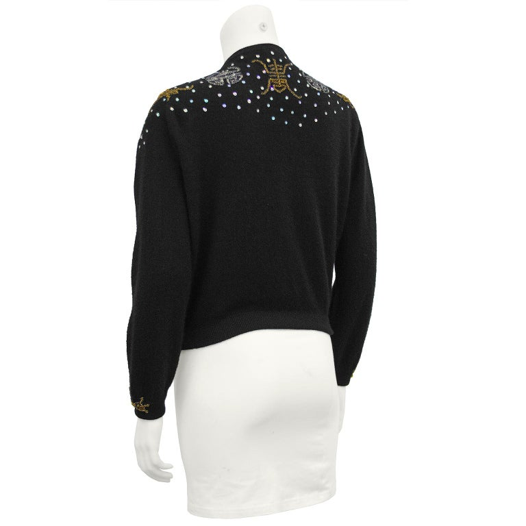 1950s Black Hong Kong Beaded Sweater In Excellent Condition For Sale In Toronto, Ontario