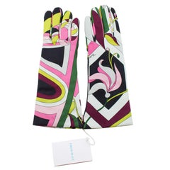 Emilio Pucci Printed Leather Gloves, 2000s