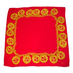 1990s Chanel Red Silk Scarf with Gold CC Chain Print