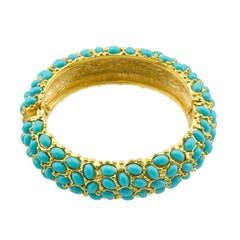 1980s KJL Faux Turquoise Cabachon Encrusted Clamper Bracelet