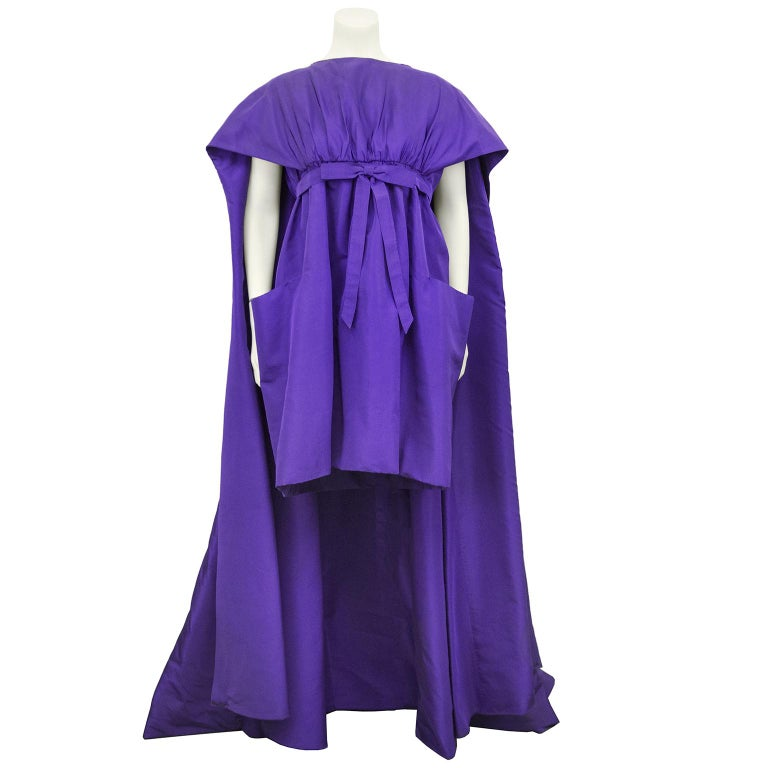 Late 1950s Capucci Haute Couture Purple Silk Cocktail Dress with Dramatic Cape For Sale