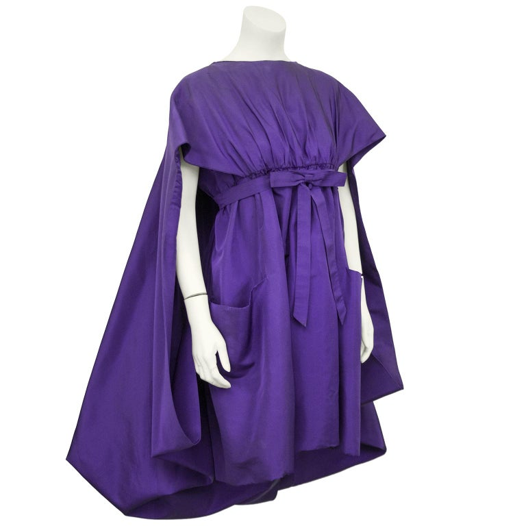 Women's Late 1950s Capucci Haute Couture Purple Silk Cocktail Dress with Dramatic Cape For Sale