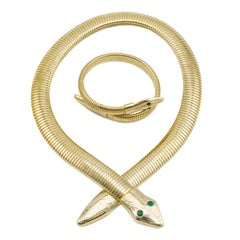 1970s Tubogas Serpentine Necklace and Bracelet Set
