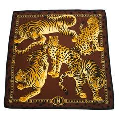1980s Lanvin Wild Cats Silk Scarf