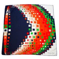 1970s Christian Dior Modernist Geometric Silk Scarf