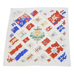 Hermès by Philippe LeDoux Pavois White 90cm Silk Scarf, 1964