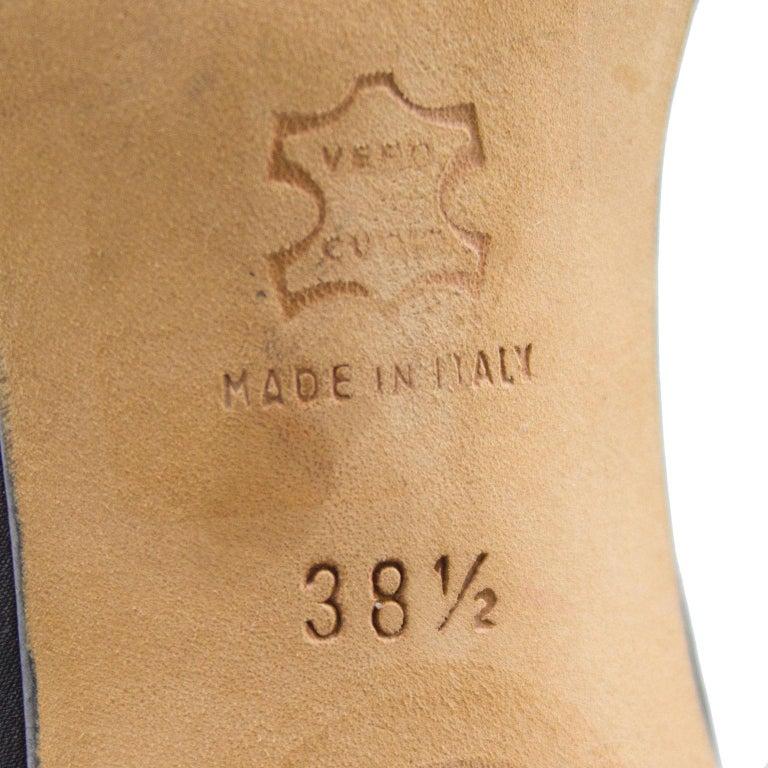 Manolo Blahnik Black Suede Ankle Strap Heels with Coral Applique For Sale 2