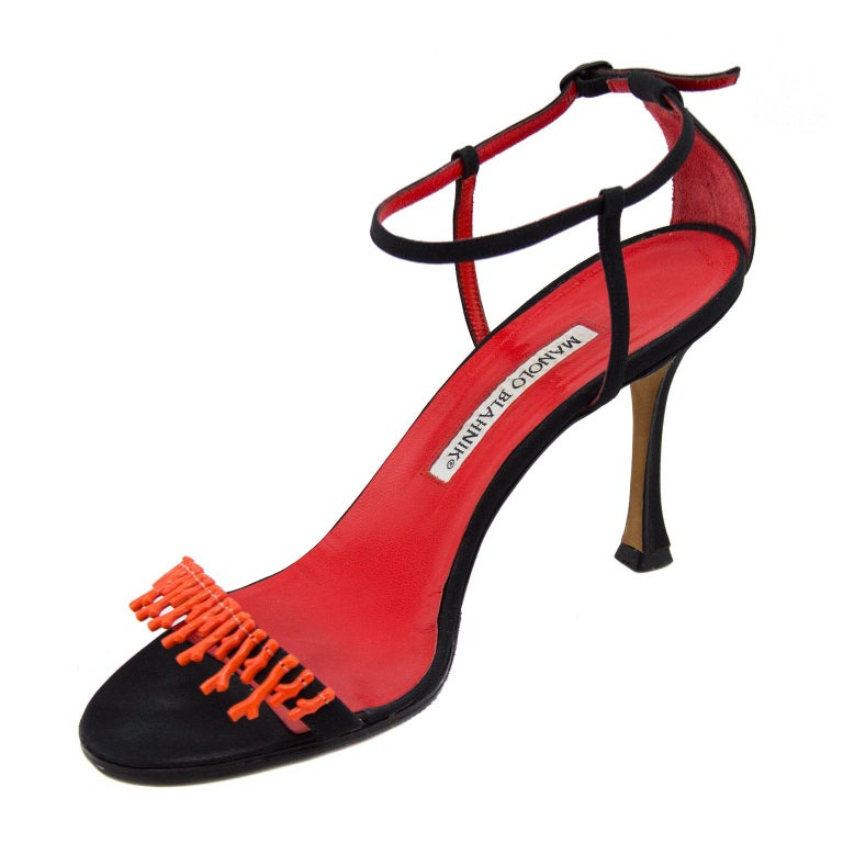 Manolo Blahnik Black Suede Ankle Strap Heels with Coral Applique For Sale