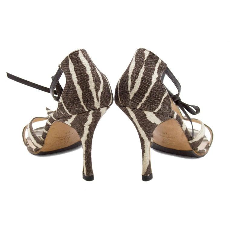 Brown Manolo Blahnik Venusa Zebra Print Canvas Strappy Heels For Sale