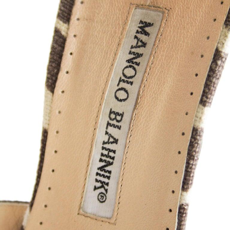 Women's Manolo Blahnik Venusa Zebra Print Canvas Strappy Heels For Sale