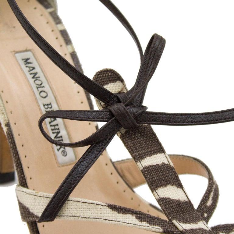 Manolo Blahnik Venusa Zebra Print Canvas Strappy Heels In Good Condition For Sale In Toronto, Ontario