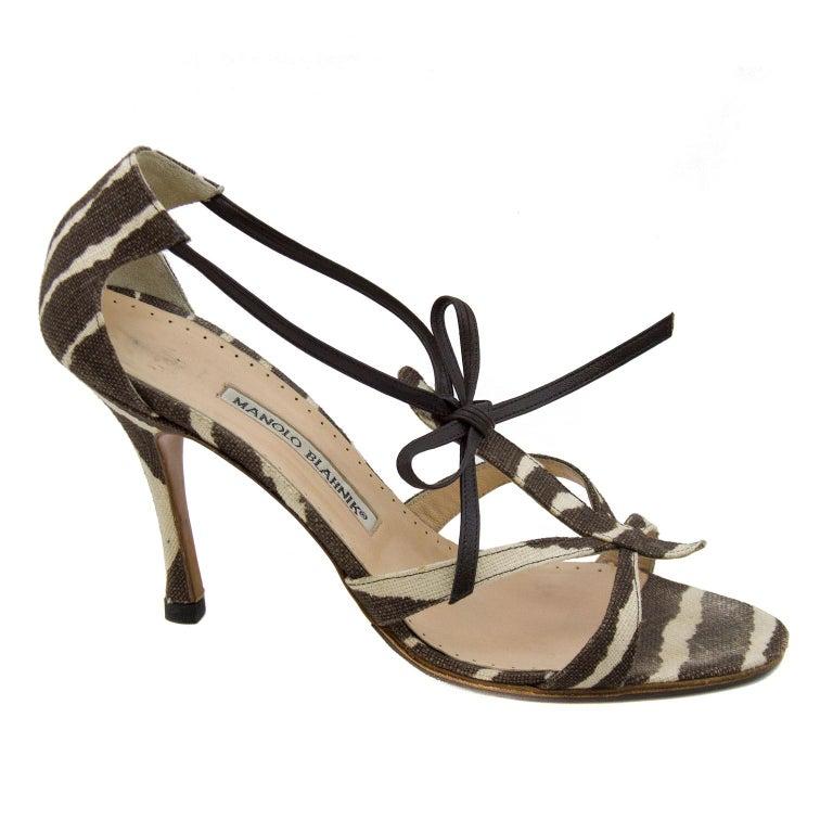 Manolo Blahnik Venusa Zebra Print Canvas Strappy Heels For Sale