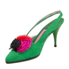 1988 Susan Bennis Warren Edwards Emerald Green Silk Shoes with Organza Flowers