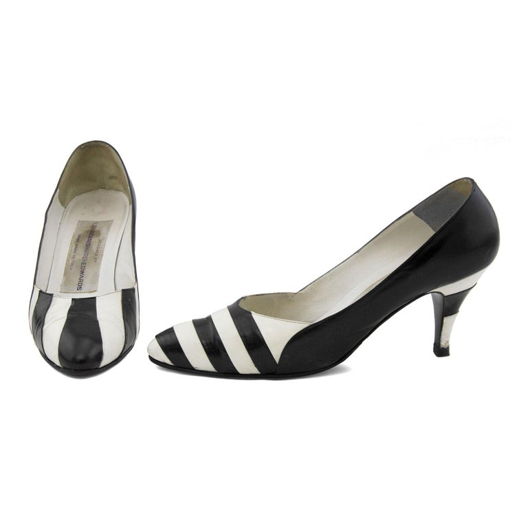 Gray Late 1980s Susan Bennis Warren Edwards Black and White Striped pumps For Sale