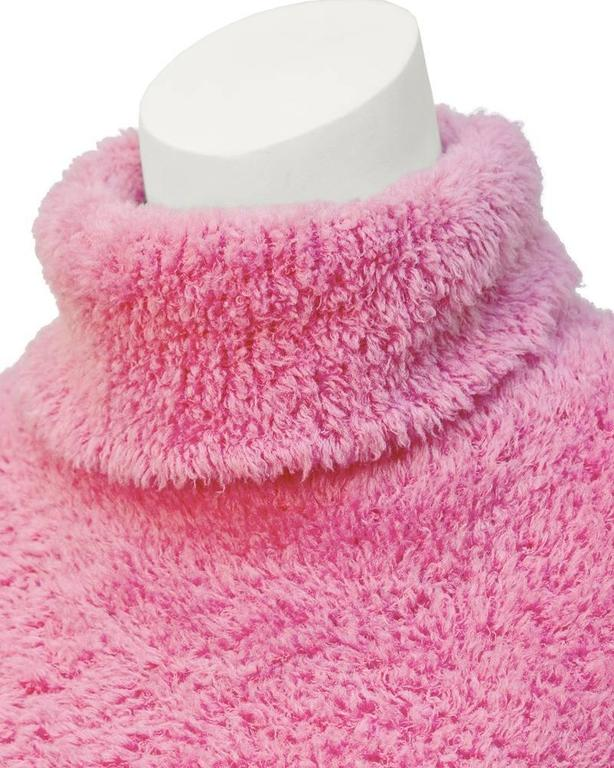Women's 1990's Isaac Mizrahi Pink Long Turtleneck Tunic For Sale
