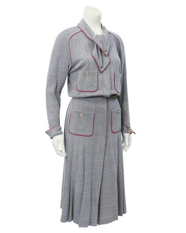 Gray 1980's Chanel Grey Wool Shirtdress For Sale