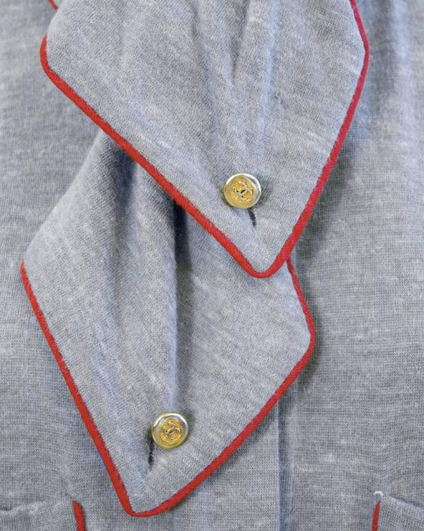 1980's Chanel Grey Wool Shirtdress In Excellent Condition For Sale In Toronto, Ontario