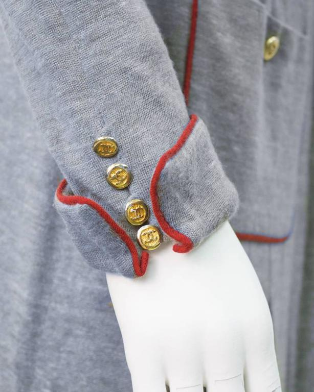 1980's Chanel Grey Wool Shirtdress For Sale 1