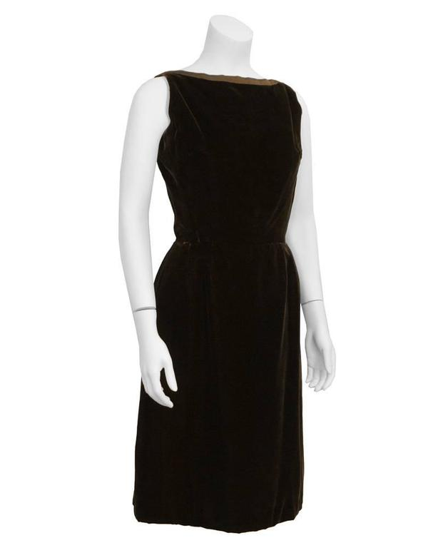 1960's Christian Dior London Brown Velvet Cocktail Dress 2