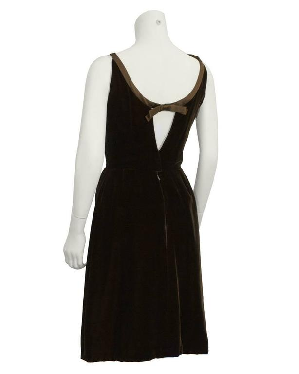 1960's Christian Dior London Brown Velvet Cocktail Dress 3