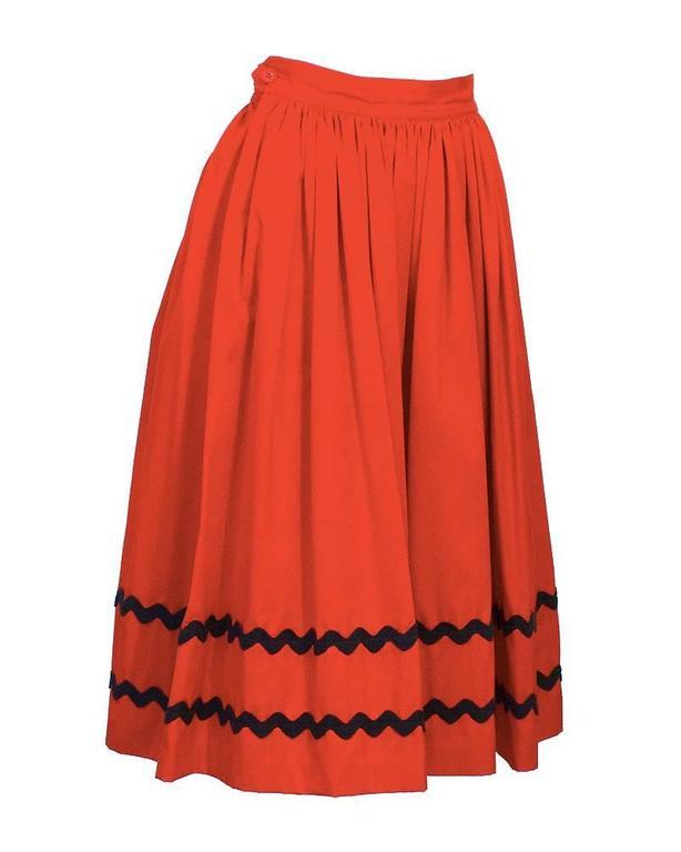 1970's Yves Saint Laurent YSL Red Skirt with Black Chevron Detailing 2