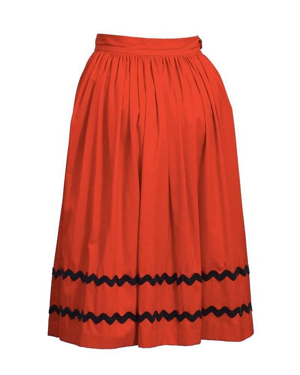1970's Yves Saint Laurent YSL Red Skirt with Black Chevron Detailing 3
