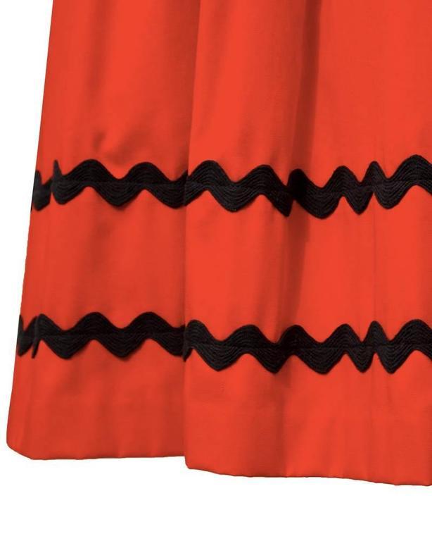 1970's Yves Saint Laurent YSL Red Skirt with Black Chevron Detailing 4