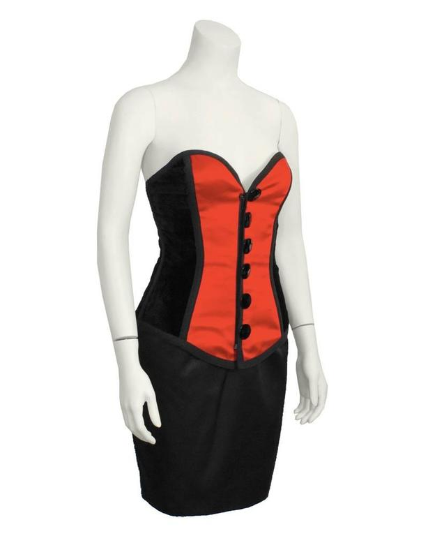 1980's Yves Saint Laurent YSL Red and Black Bustier and Skirt Ensemble 2