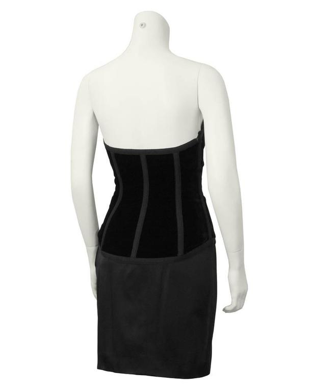 1980's Yves Saint Laurent YSL Red and Black Bustier and Skirt Ensemble 3