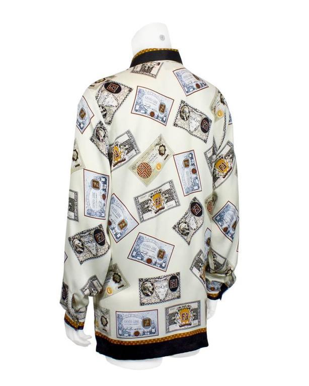 1980's Fendi Cream 'Money' Print Silk Blouse 3