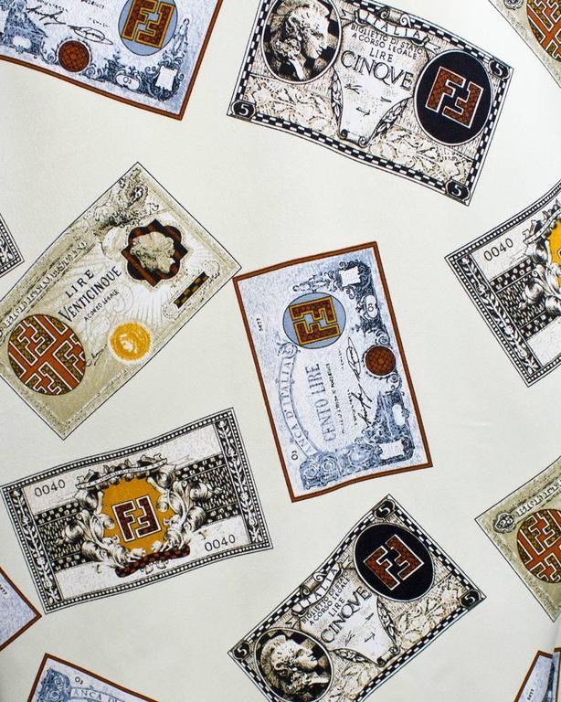 1980's Fendi Cream 'Money' Print Silk Blouse 4