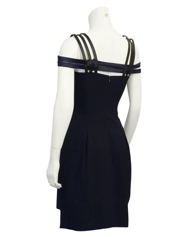 1990's Versus by Versace Navy Cage Dress with Black Leather Accents  3