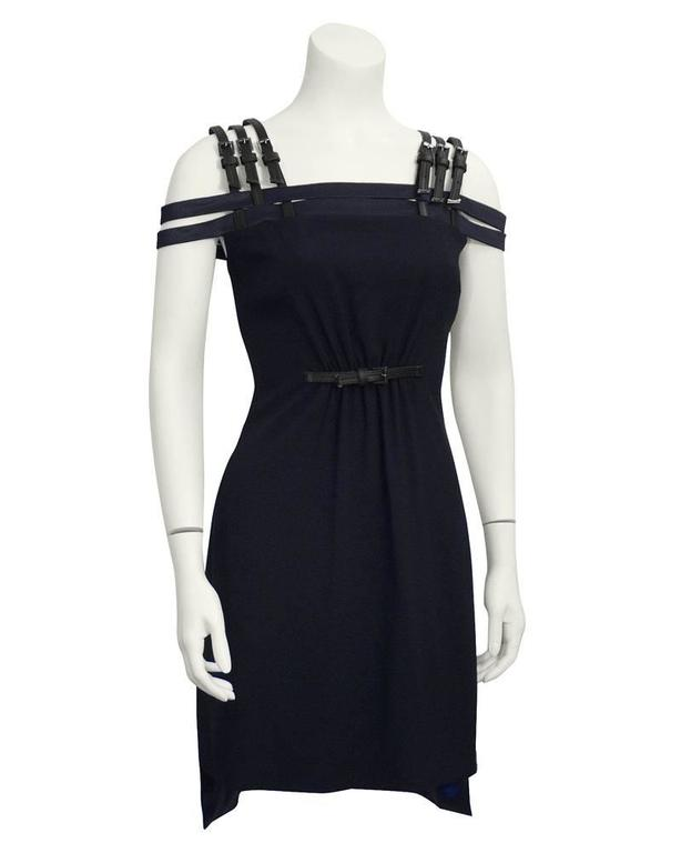 1990's Versus by Versace Navy Cage Dress with Black Leather Accents  2
