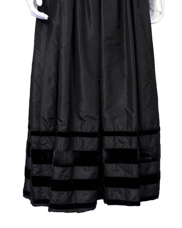 Women's 1970's Nina Ricci Black Taffeta Ingenue Gown For Sale