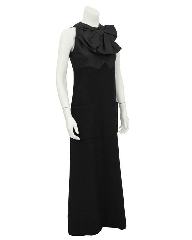1960's Geoffrey Beene Black Wool Gown with Large Bow  2