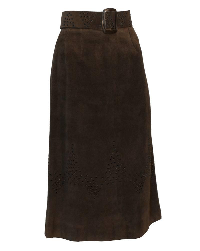 1970 s tiktiner brown suede midi skirt for sale at 1stdibs