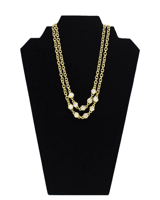 1970's Chanel Gold Chain Sautoir Necklace with Rhinestones 2