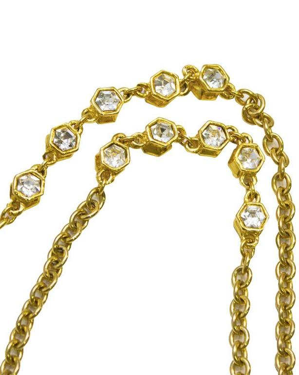1970's Chanel Gold Chain Sautoir Necklace with Rhinestones 3