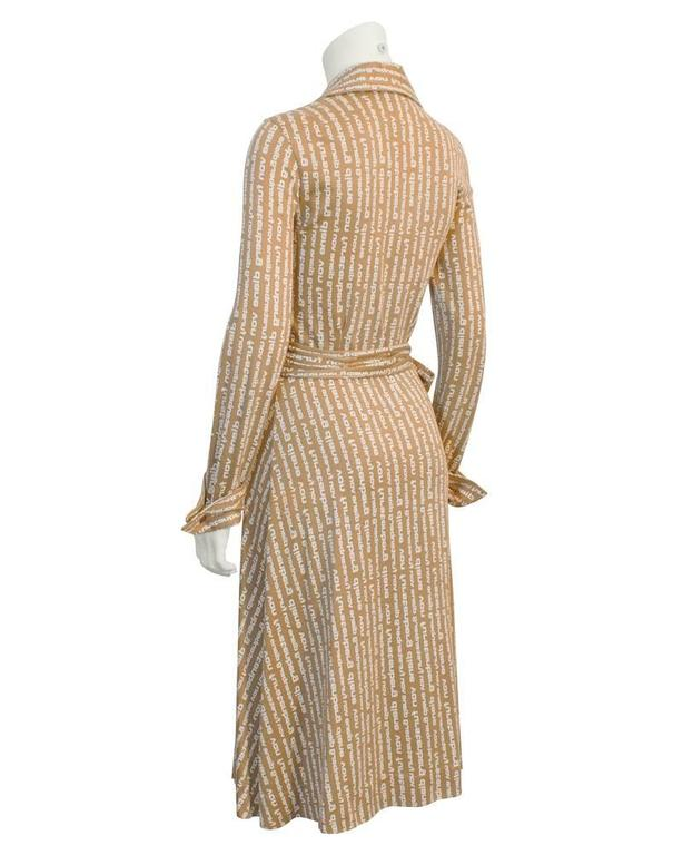 Brown 1970's Diane Von Furstenberg Tan Logo Wrap Dress  For Sale