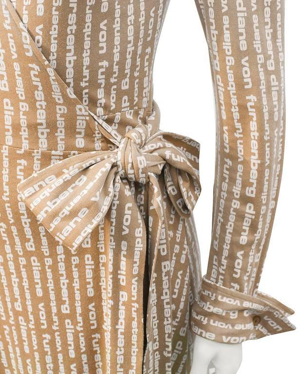 1970's Diane Von Furstenberg Tan Logo Wrap Dress  In Excellent Condition For Sale In Toronto, Ontario