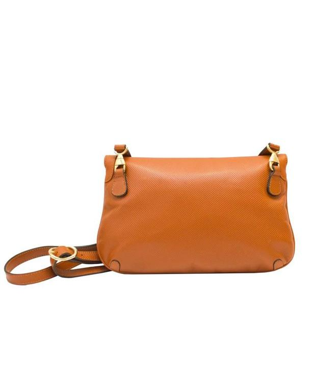 Orange 1980's Mark Cross Honey Brown Leather Clutch For Sale