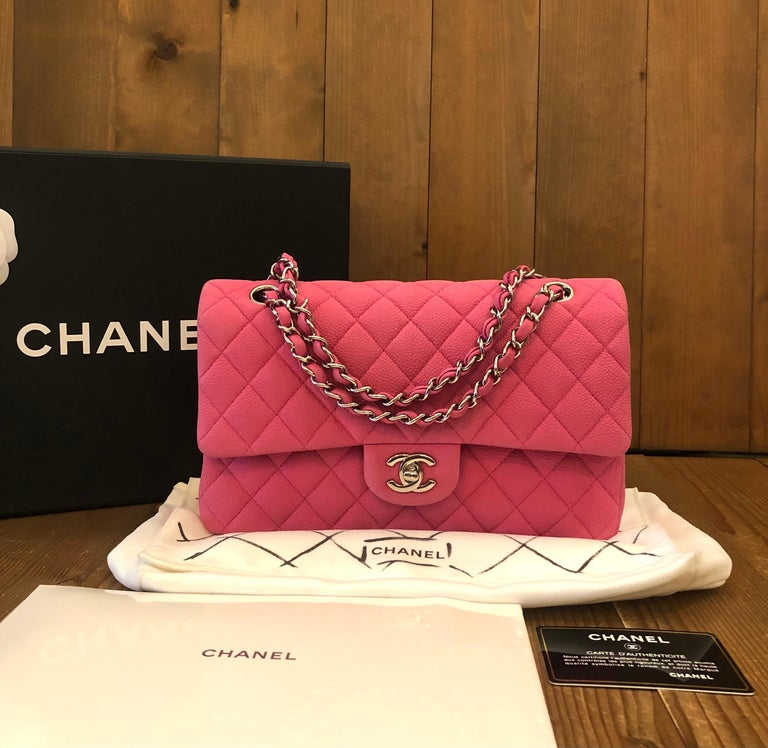 2013 Medium Chanel pink nubuck caviar classic flap bag. Made in France. Serial 18xxxxxx. Comes with Box Authentication Card Booklet Dustbag.   Condition: Outside: Minor marks on caviar leather  Inside: Minimal to no visible wear Edges: Minor marks