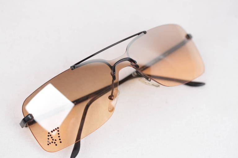 a9e6633734e5 CHRISTIAN DIOR Rimless SUNGLASSES DIOR 47 90C Orange One Piece Lens  RHINESTONES For Sale 4