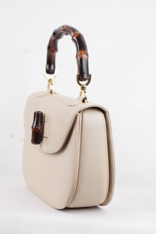Gucci Italian Vintage Beige Leather Bamboo Bag Handbag