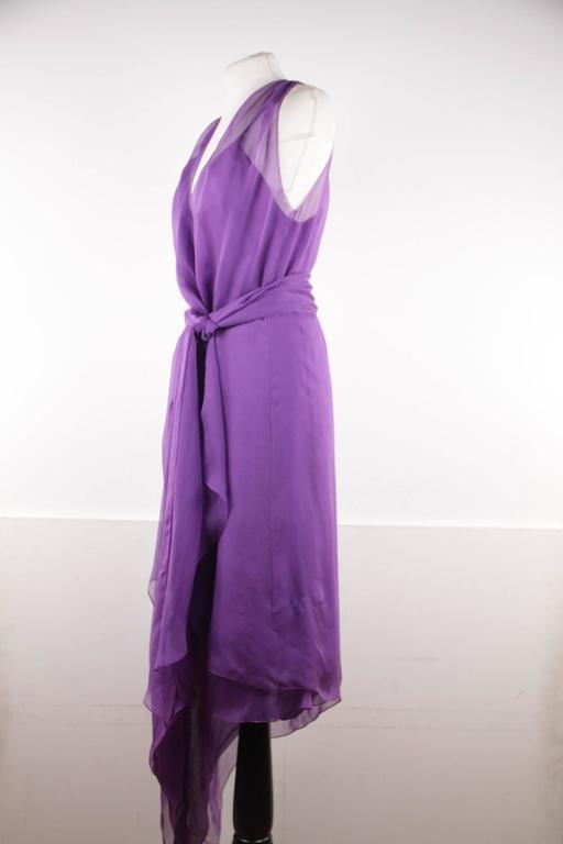 CHANEL 2003 Purple Silk Chiffon ASYMMETRICAL Hem LONG DRESS w/ Stole SIZE 40 FR 2