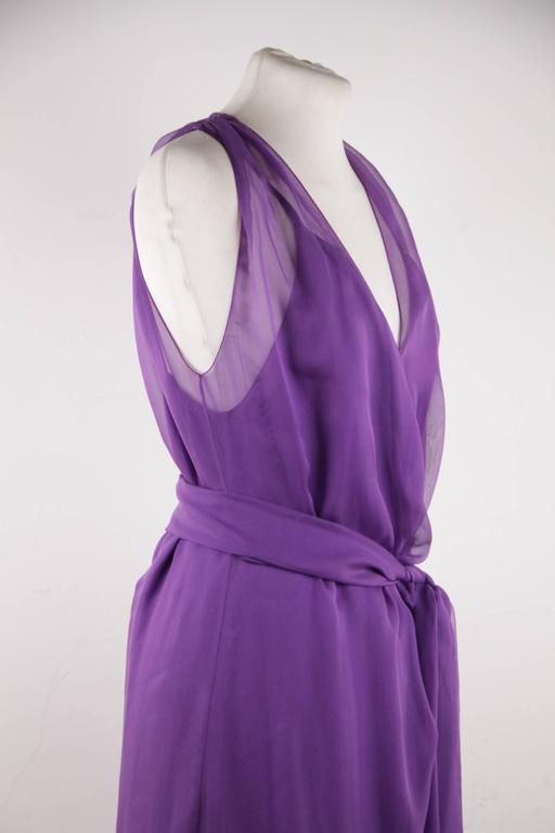 CHANEL 2003 Purple Silk Chiffon ASYMMETRICAL Hem LONG DRESS w/ Stole SIZE 40 FR 4