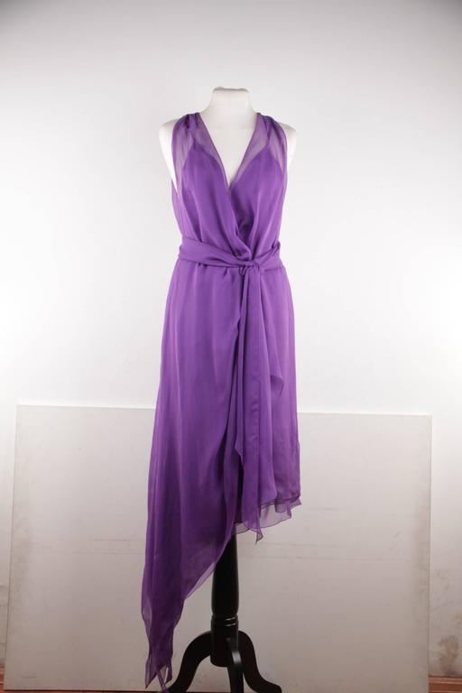CHANEL 2003 Purple Silk Chiffon ASYMMETRICAL Hem LONG DRESS w/ Stole SIZE 40 FR 5